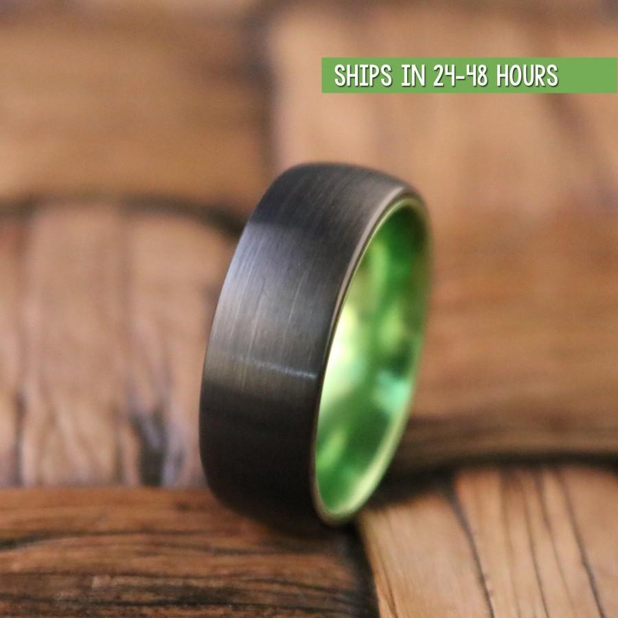 Wedding - Black Green Tungsten Ring, Wedding Band, Mens Wedding Band, Tungsten Ring, Wedding Ring,Tungsten Wedding Band, Promise Ring, Engagement Ring