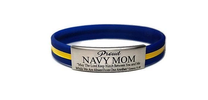 Wedding - Free Shipping! Proud Navy Mom or any Custom Relationship Laser Engraved Bracelet