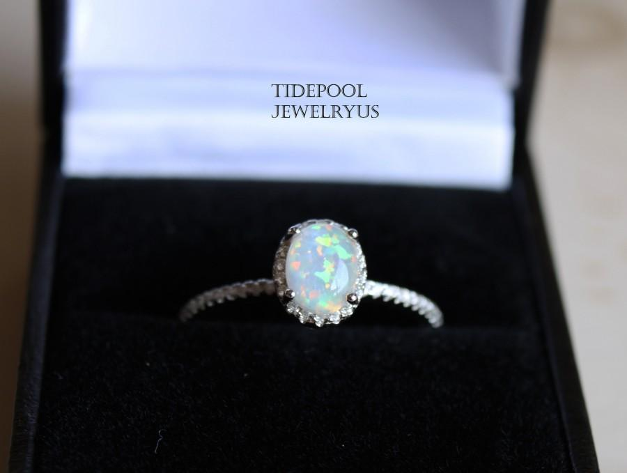 Wedding - Oval Fire Opal Ring, Sterling silver Elegant Opal Ring, White Opal Sterling silver Ring, Wedding Engagement Gift for her, mother