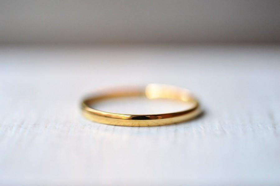 Wedding - 2mm Thin Gold Ring, Yellow Gold Stacking Ring, 18k Dainty Gold Ring, Thin Gold Band For Women, Plain Gold Band, Simple Wedding Band, Unisex
