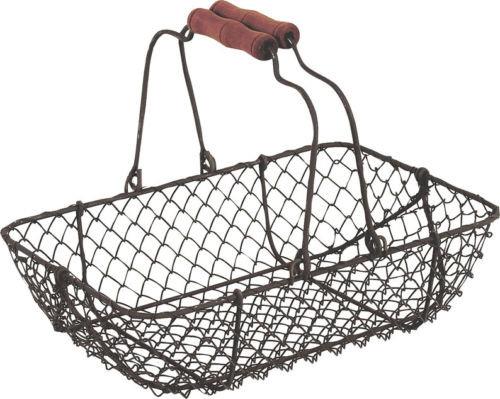 Mariage - Vintage Rectangular Wire Metal Basket Rustic Brown Garden Trug Shabby Wedding Centrepiece Venue Decoration