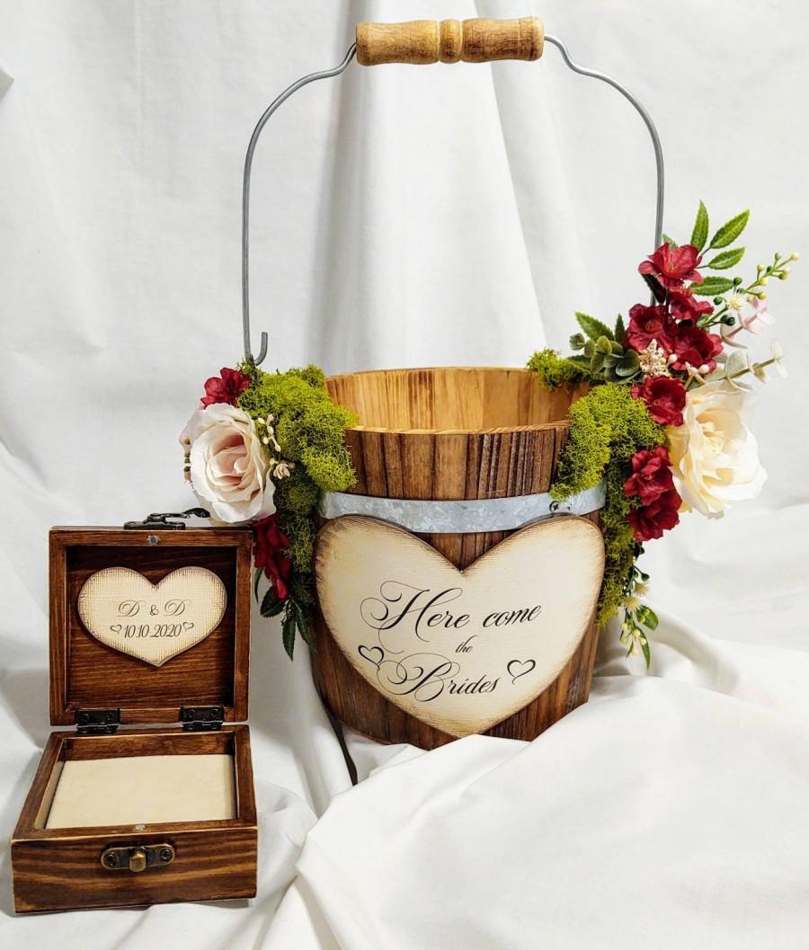 Wedding - Ivory Flower Girl Basket/ Flower Girl Baskets/Boho