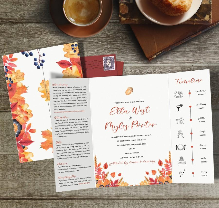 Wedding - Wedding Invitation, Gatefold Wedding Invites, Folded Wedding Invite, Timeline Wedding Invitation, Invitations Wedding, Autumn, Fall, Orange