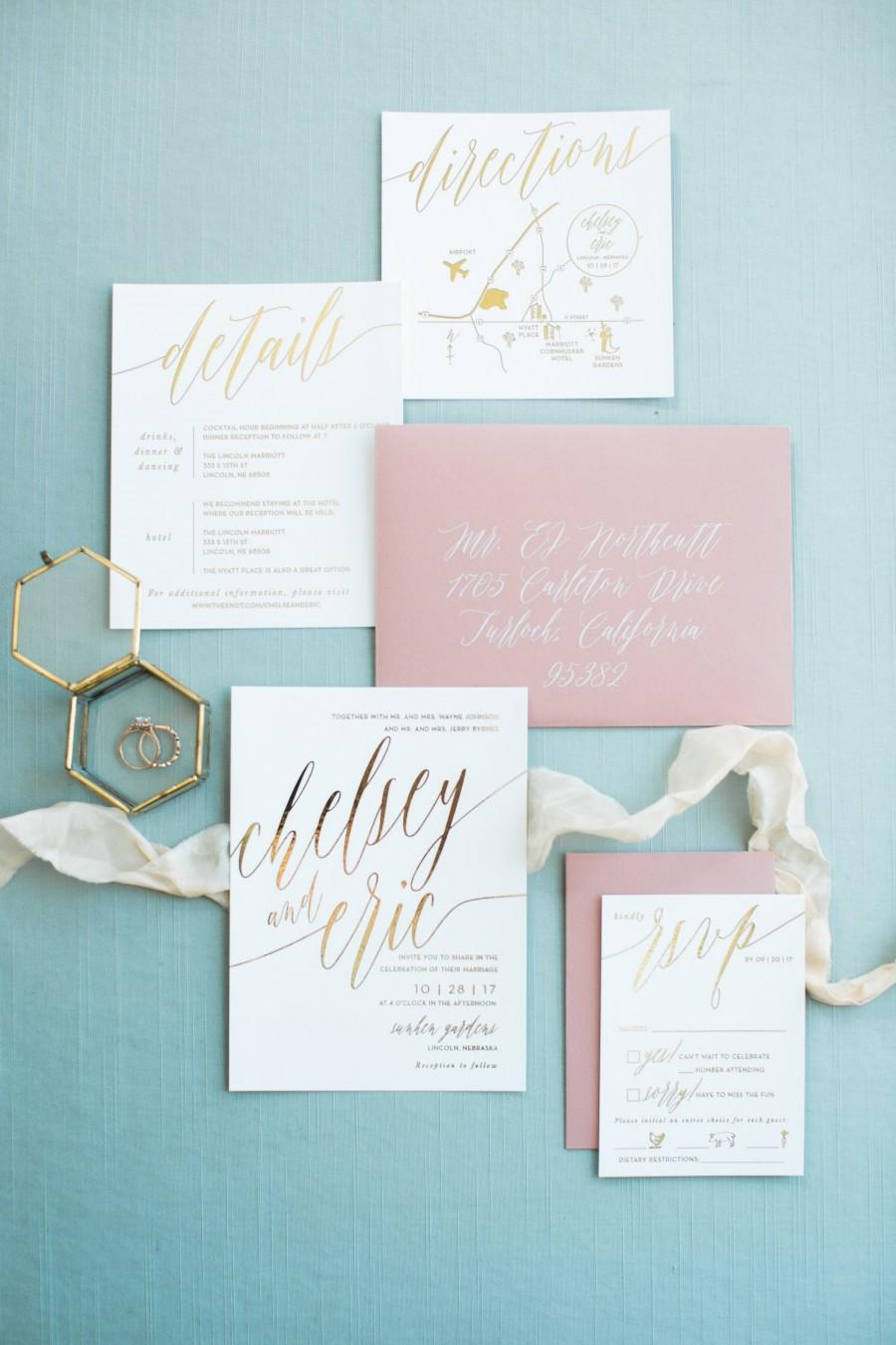 Wedding - Chelsey Wedding Invitation Suite with Foil