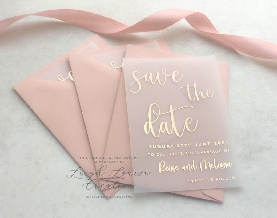 Wedding - Foil vellum save the date, foil save the date tag, vellum invitation, foil wedding stationery, rose gold, gold, silver, copper