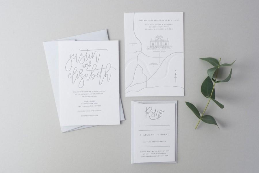 Wedding - Letterpress Wedding Invitation Suite (Main Invite, RSVP and Map) (SAMPLE) - Elizabeth Design