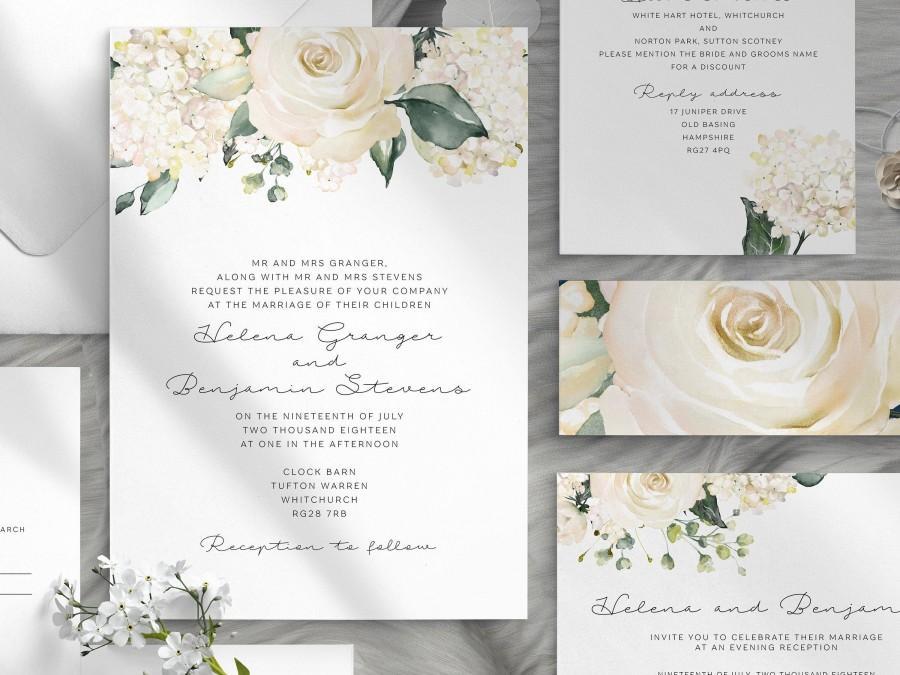 Wedding - White floral wedding invitation template - Printable boho wedding invitations - Garden wedding - Editable invitations - Instant download