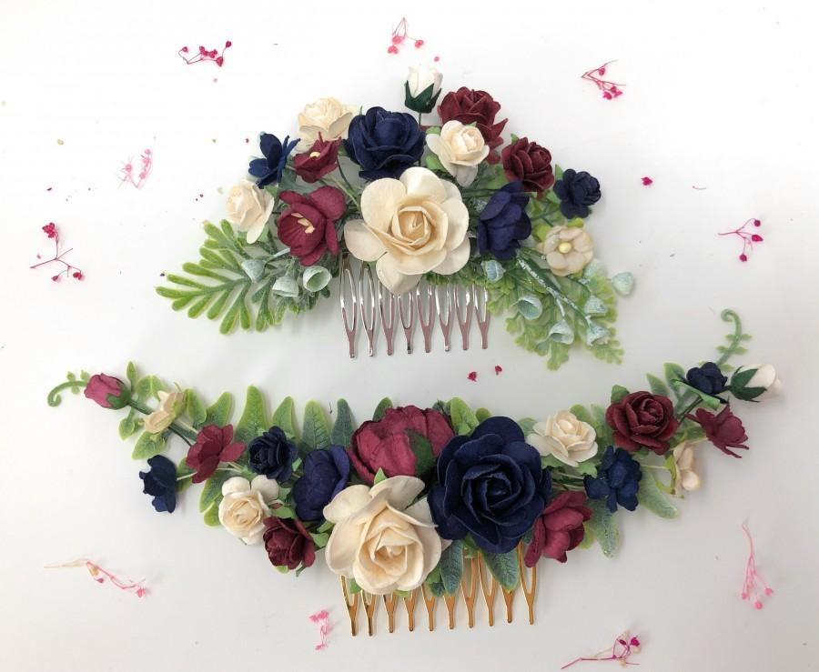 Wedding - Floral hair comb, burgundy navy and ivory hair piece, flower hair comb, bridal hair comb, flower hair piece, wedding comb, rose haircomb