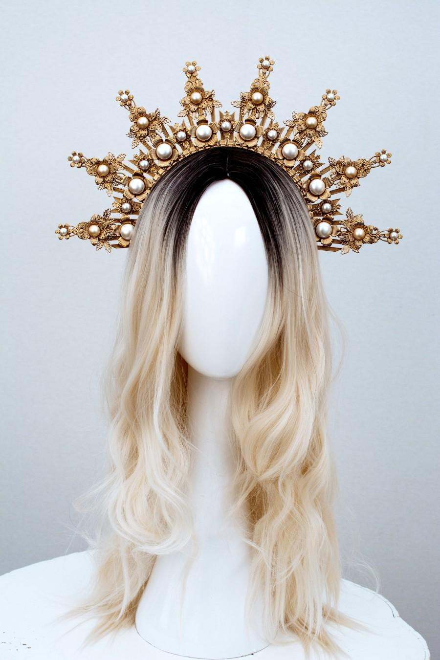 Wedding - Gold Halo crown, Glitter Halo Headpiece, Festival crown, Festival headpiece, Met Gala Crown, Sunburst Crown, Gold Zip Tie Crown, Mary Crown