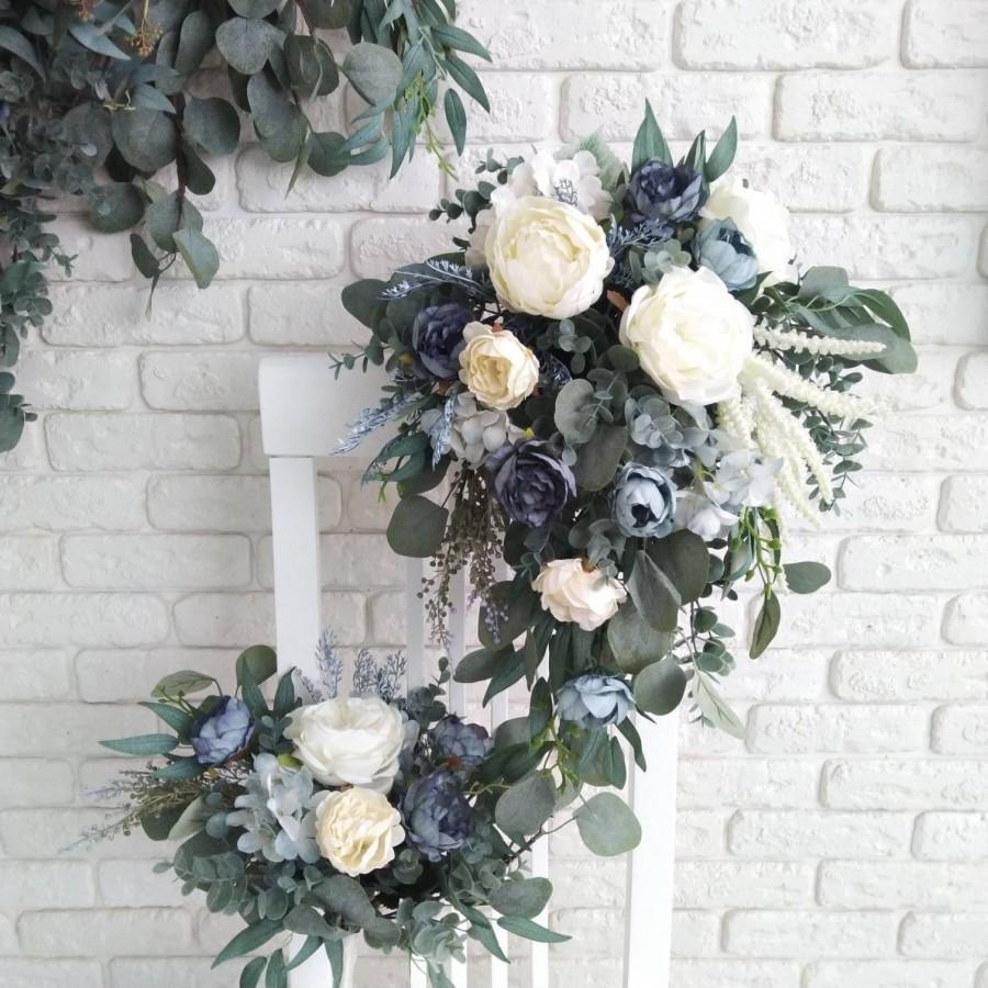 Hochzeit - Dusty blue cascading bouquet Bridal eucalyptus cascading bouquet Navy blue bridal bouquet Wedding silk flowers bouquet Greenery faux bouquet