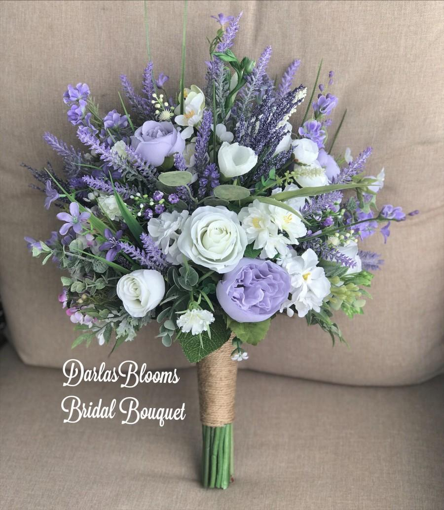 Wedding - Lavender wedding bouquet, Boho bouquet, Purple wedding flowers, Silk wedding flowers, Lavender bridal bouquet, Rustic bouquet, Wild flowers