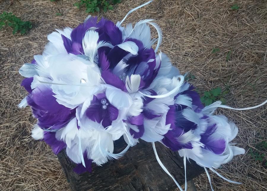 Mariage - Cascade Wedding bouquet, Feather bouquet, Purple/White bouquet, Vintage bouquet, Gatsby Wedding, Alternative bouquet, YOUR CHOICE COLOR