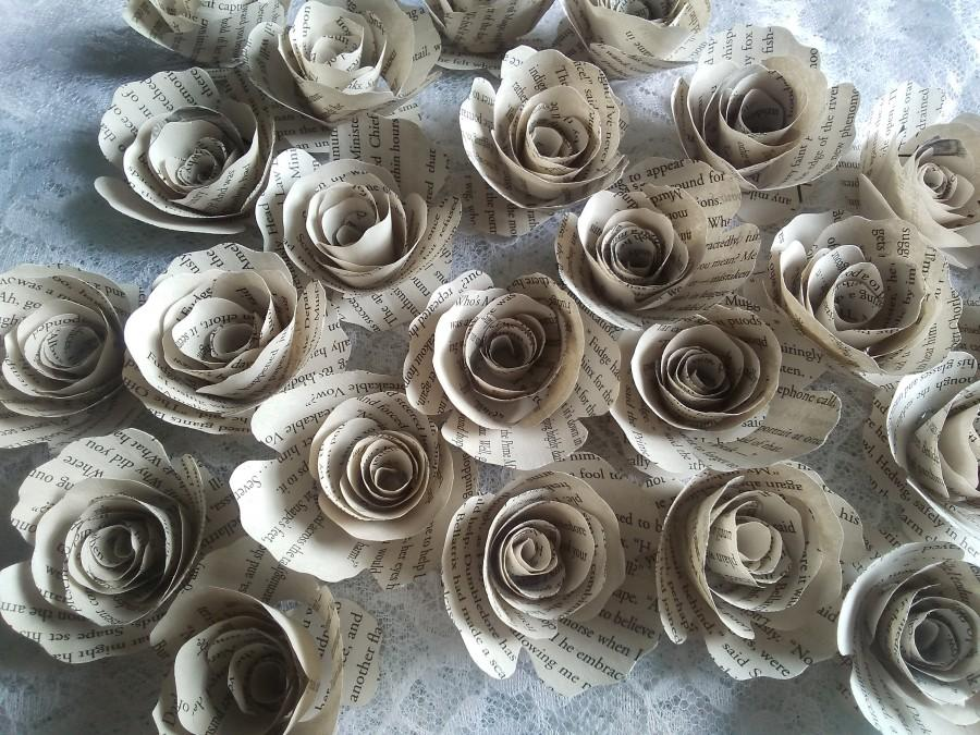 Wedding - 2 Dozen Book Page Flowers 24 Paper Roses No Stems Harry Potter Alice in Wonderland Pride & Prejudice Lord of the Rings Star Wars Twilight