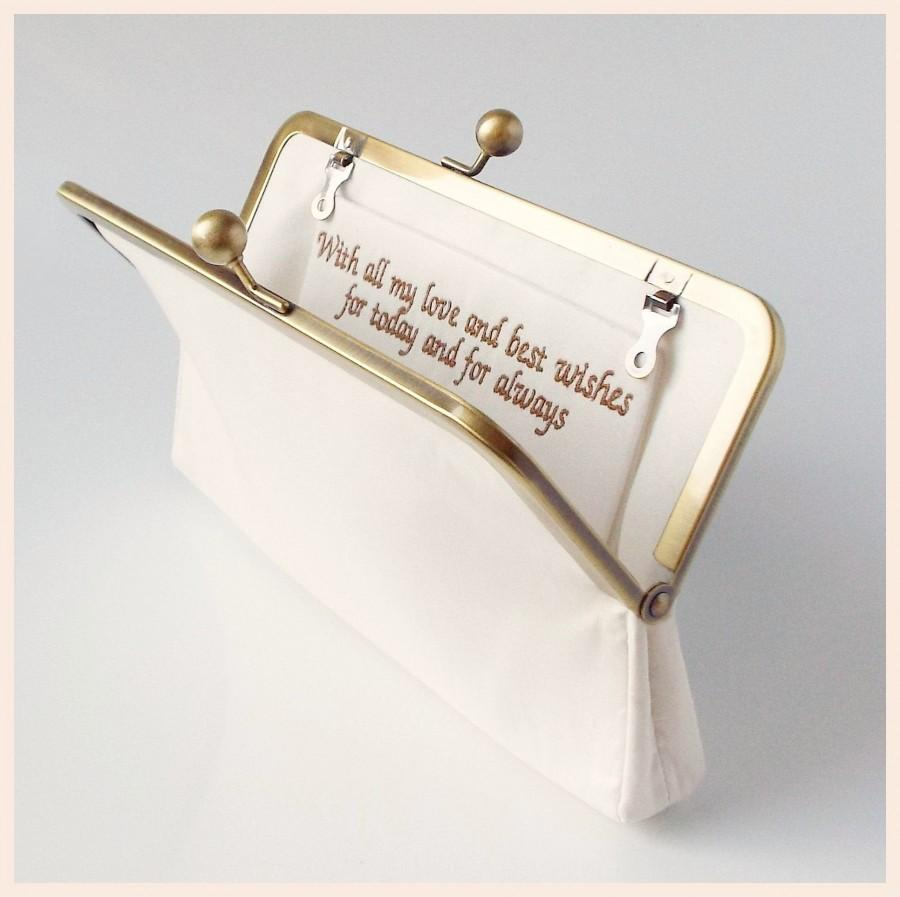 Wedding - personalised clutch bag, ivory, navy blue, pink or champagne silk custom made bag with special message