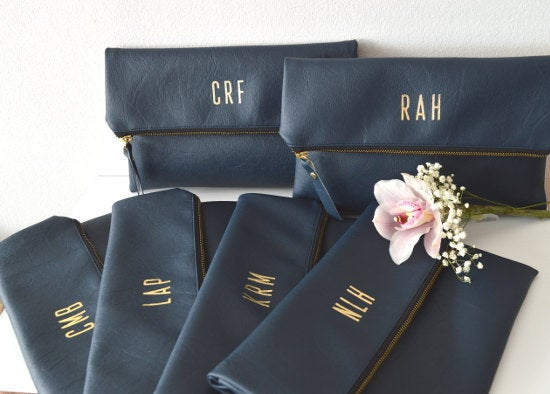 Wedding - Personalized Navy Blue Clutch Purses / Set of 6 Personalized Foldover Clutches / Bridesmaids Gift / Monogrammed Bridal Clutch Purses