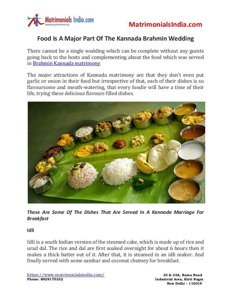Wedding - Food Is A Major Part Of The Kannada Brahmin Wedding