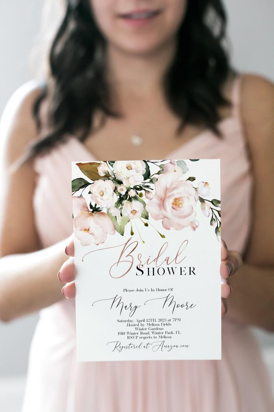 Wedding - Pink Bridal Shower Invitation Template, Boho Floral Bridal Shower, Rose Gold Greenery, Instant Download, Editable Template, Corjl, WP382