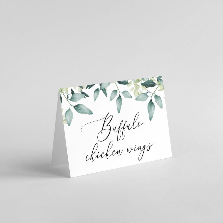Wedding - Editable Buffet Card Template, Printable Food Label, Eucalyptus Buffet Card, Wedding Buffet Tent Card, Greenery Food Card, Templett, C31