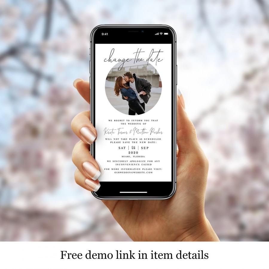 Wedding - Photo Wedding Postpone Announcement Template, Picture Change The Date, Rescheduled, New Plan, iPhone, Electronic, Digital, Round DIY #vmt710
