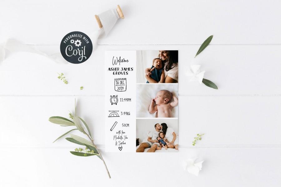 Wedding - Newborn Baby Birth Announcement, Photo Birth Card, Birth Stats Card, Printable Birth Announcement, Instant Download 5x7, A6