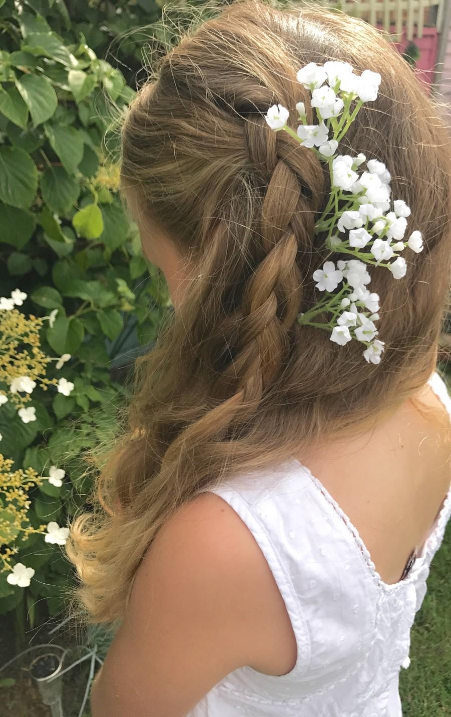 Wedding - Gypsophila Flower Spray Babys Breath Hair Pin Slides Bridal Bride