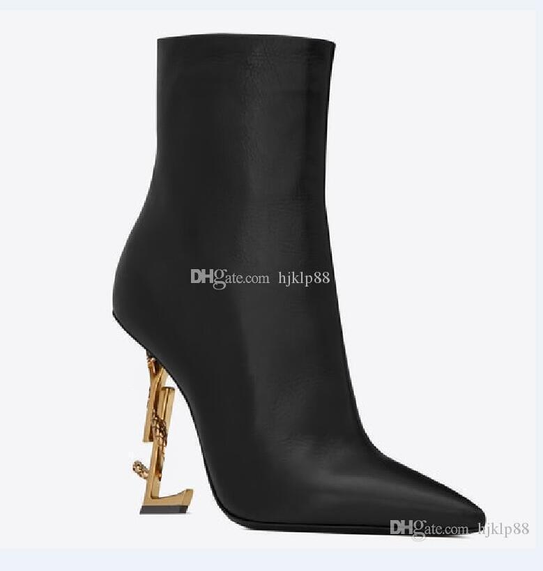 Wedding - New Spring Fall Black Real Leather Wedding Bridal Shoes OPYUM Snake Heels Pointed Toe Letters High Heels Pumps Ladies Boots Designer DHgate Bridal Red Shoes Bridal Shoes Auckland From Hjklp88, $88.63