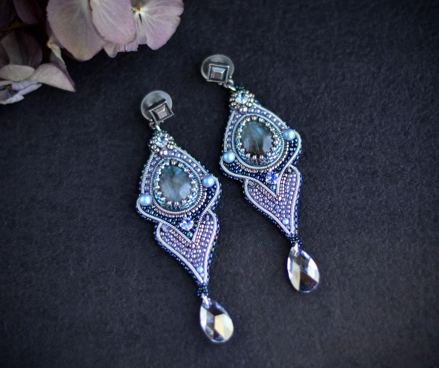 Wedding - Blue labradorite gemstone earrings for woman eseed beads long dangle elegant earrings