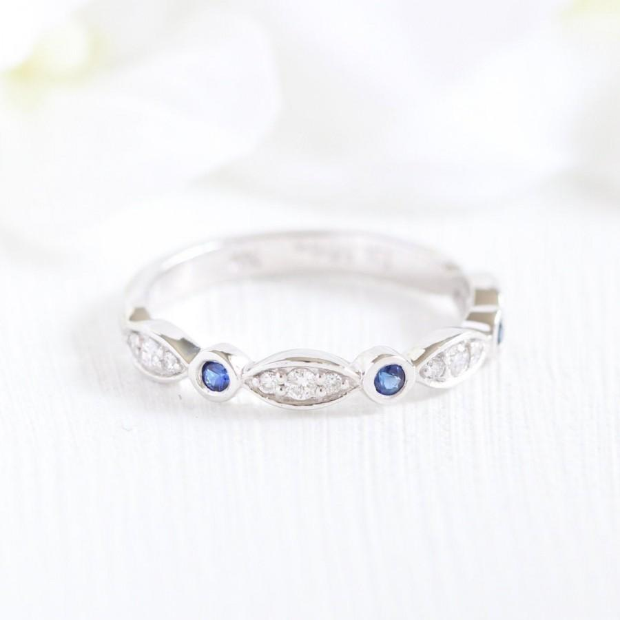Wedding - Diamond and Sapphire Wedding Band in 14k White Gold Bezel Scalloped Diamond Ring, Anniversary Ring, Round Cut Color Gemstone Ring