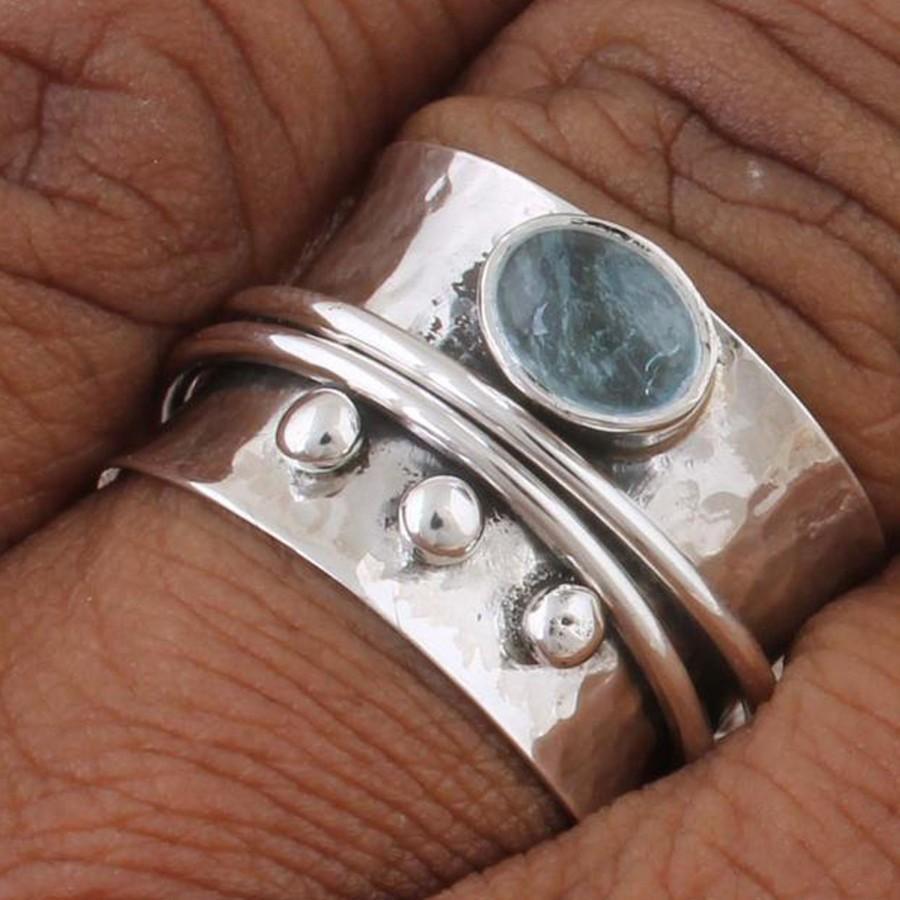 Wedding - Aquamarine Natural Gemstone Ring,Silver Band Ring,925-Sterling Silver Ring,Spinner Ring,Antique Silver Ring,Thumb Ring,Etsy cyber sell2019