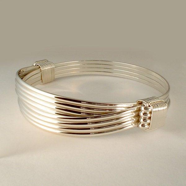 Wedding - Elephant hair bracelet made with Solid Sterling Silver in a 2 knot 4 strand style Safari Bracelet™