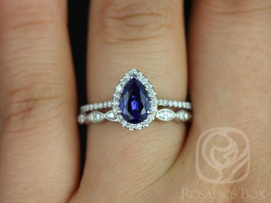 Wedding - Tabitha 8x5mm & Christie 14kt White Gold Blue Sapphire Diamonds Art Deco Pear Halo Wedding Set Rings,Rosados Box