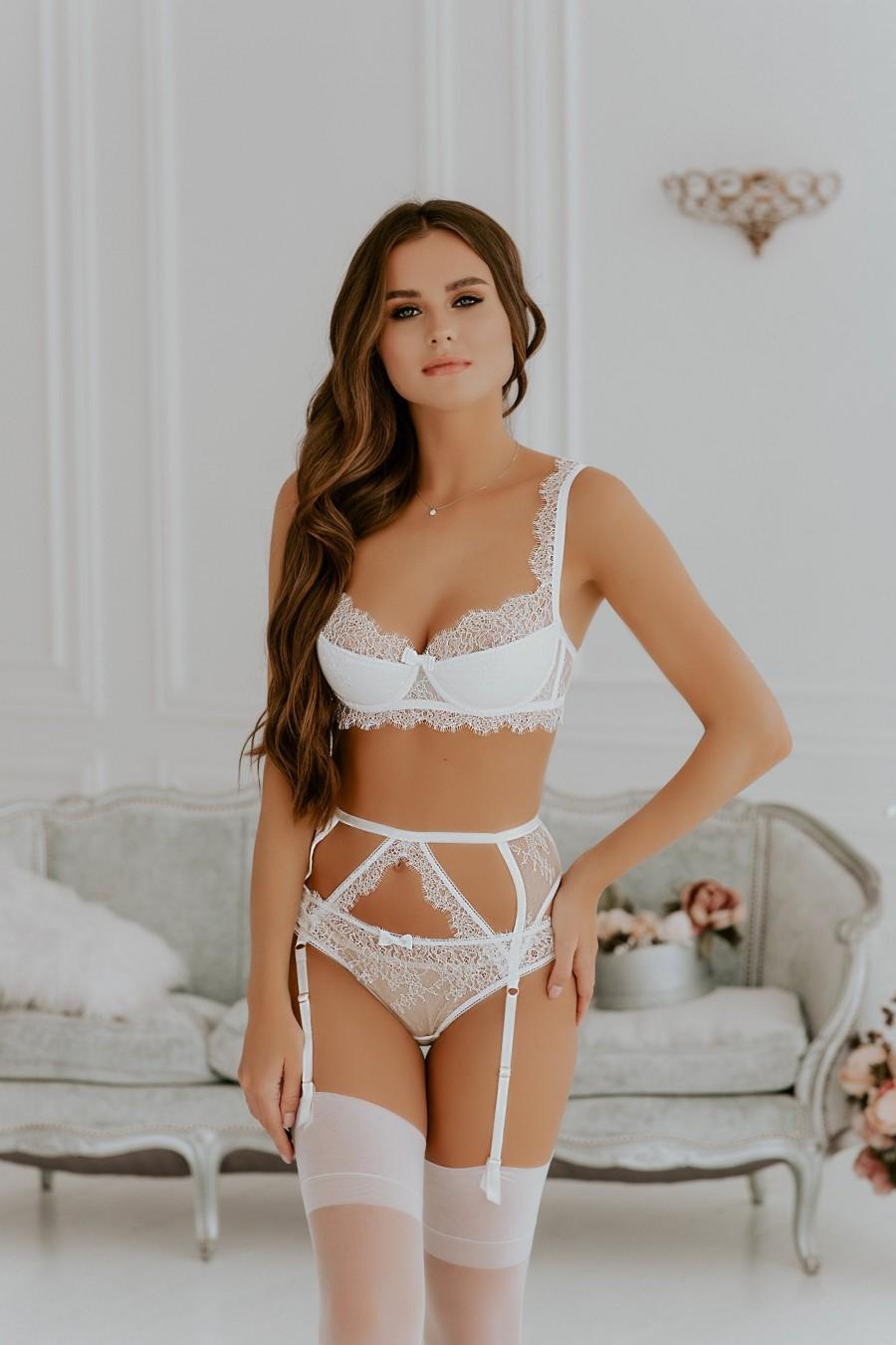 Wedding - Women lingerie set, Lingerie bridal, Lingerie set garter, Bridal lingerie set, White lingerie set, Lace lingerie, Sexy lingerie, Push up bra