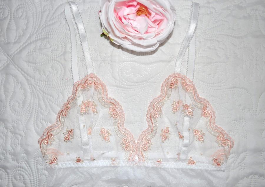 Wedding - See through mesh triangle bralette Wedding bralette White bralette Women bra white lingerie Lace bralette Soft bra Sheer bralette Underwear