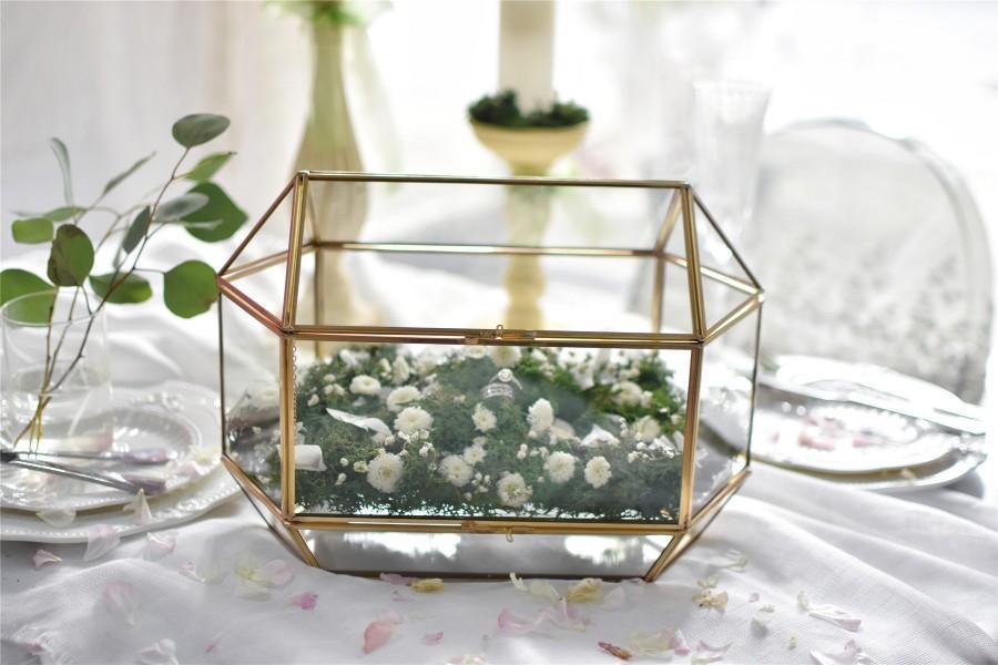 Wedding - Large Geometric Glass Card Box Wedding  Keepsake Recipe Reception Card Envelope Holder Display Gift Card Box with Swing Lid NCYP