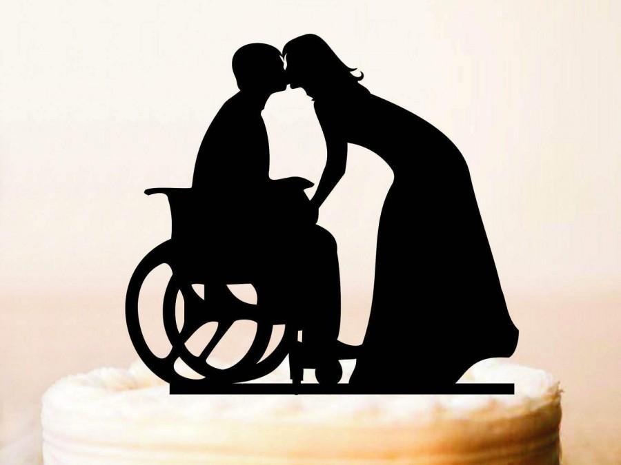 Wedding - Wheelchair Wedding Cake Topper, Groom in Wheelchair, Wedding Cake Topper Silhouette,Bride Groom Topper, Wheelchair Wedding (0195а)