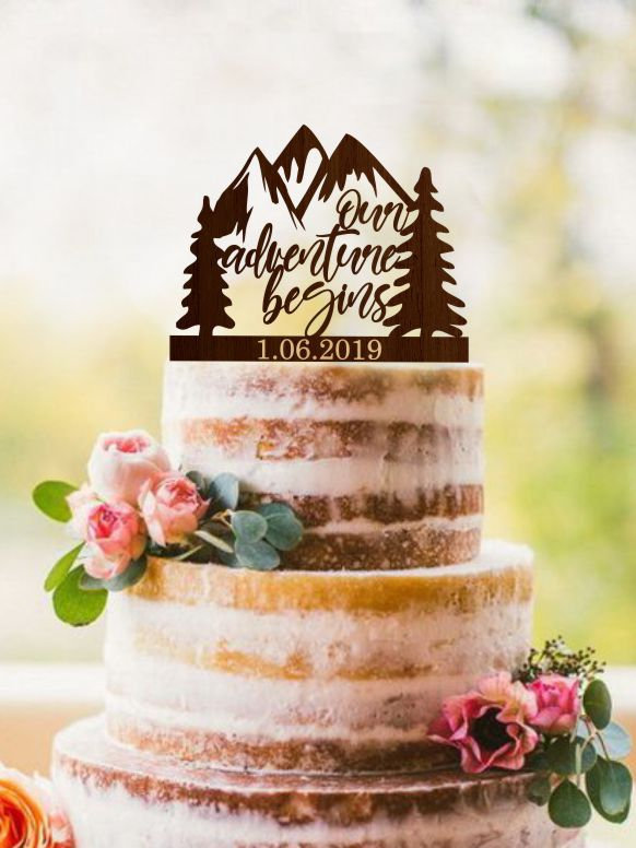 Wedding - Our Adventure Begins cake topper, Travel wedding cake toppers, Mountains cake topper, Tree cake topper, Rustic wedding cake topper