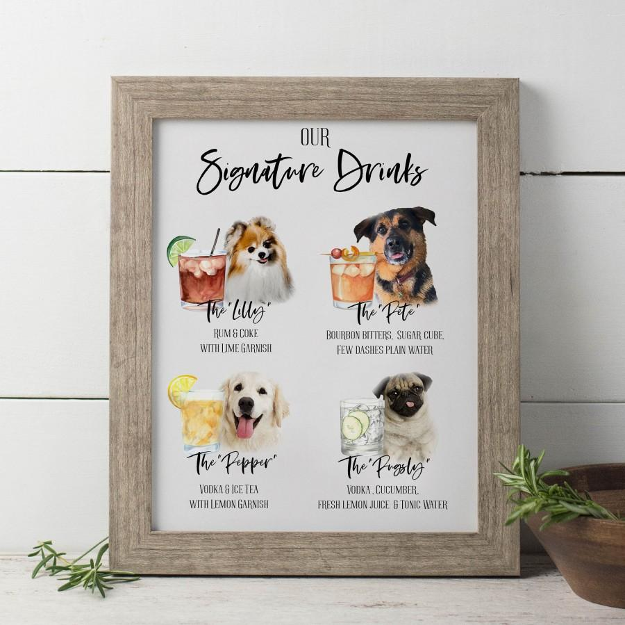 Wedding - Wedding Signature Drinks Sign Printable, Cocktail Menu Sign, Pet Drink Sign, Dogs or Cats Signature Cocktail Sign