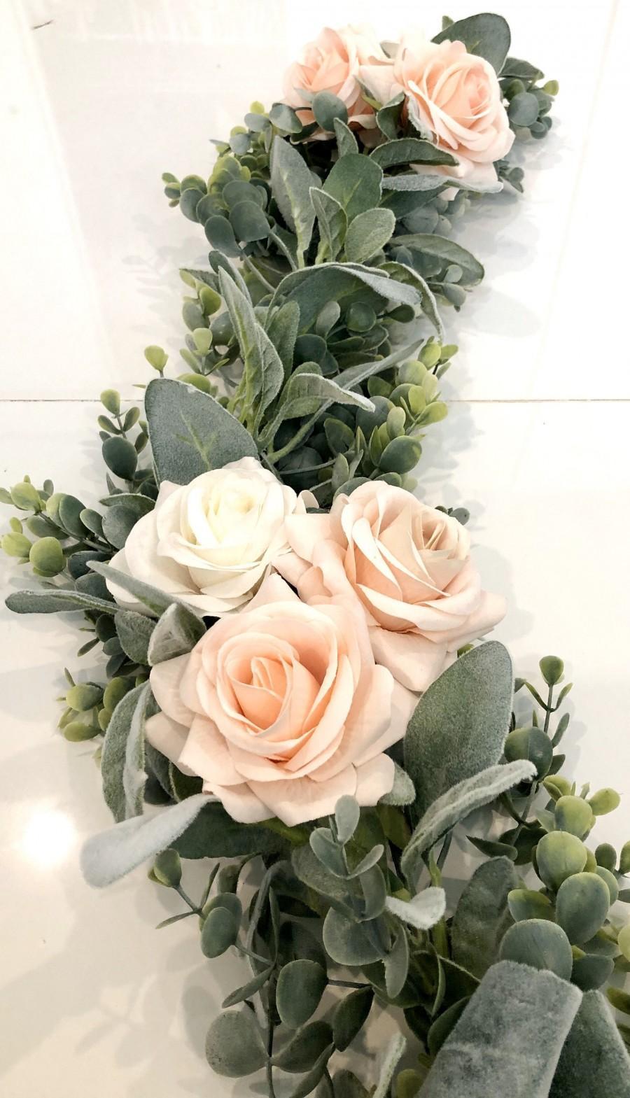 Wedding - Blush Garland, Artificial Eucalyptus Garland, Blush Centerpiece, Eucalyptus Swag,Lambs Ear Garland, Table Runner, Candle Wreath, Wedding Cen