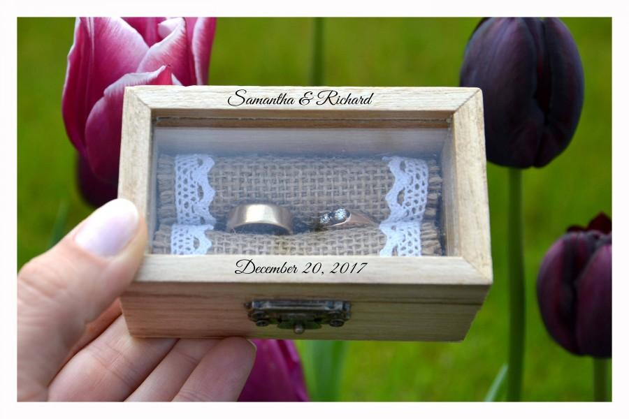 Wedding - ring box, Personalized ring box with glass lid, wedding box, wooden ring box ,ring bearer box,engagement ring box, custom ring holder (R51)