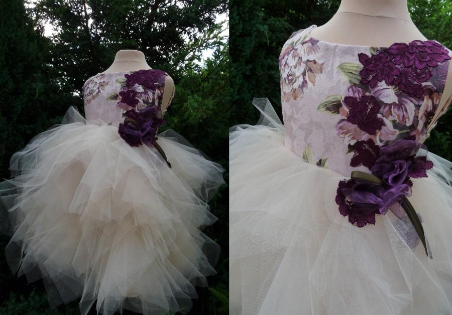 Wedding - ELENA Champagne Purple  Lace Tulle Flower Girl Dress Wedding Bridesmaid Dress with Flowers