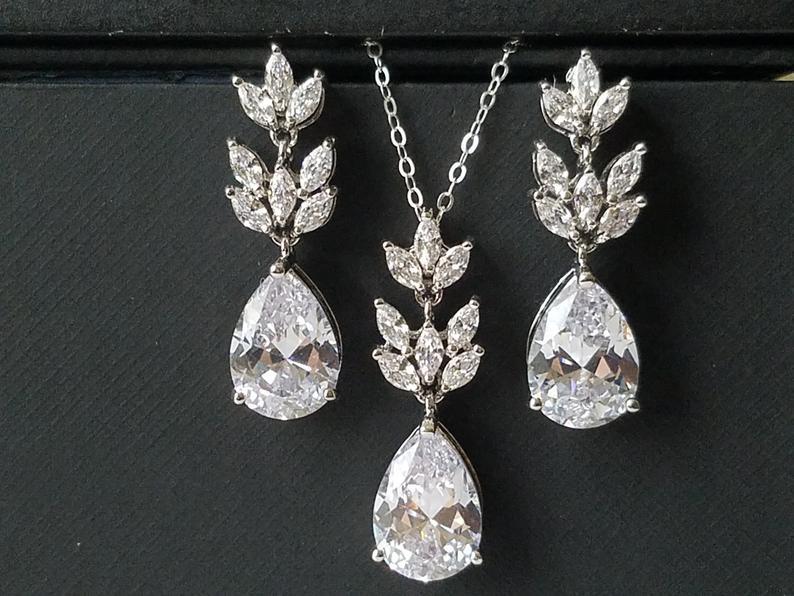 Wedding - Crystal Bridal Jewelry Set, Wedding Cubic Zirconia Silver Set, Teardrop Crystal Jewelry Set, Bridal Crystal Earrings Bridal Zirconia Pendant