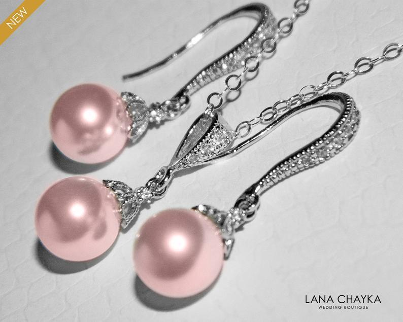 Wedding - Pink Pearl Jewelry Set, Swarovski 8mm Rosaline Pearl Earrings&Necklace Set, Blush Pink Small Pearl Bridal Set, Bridesmaids Jewelry Gift