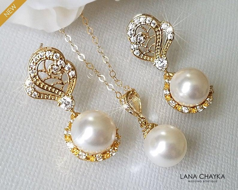 Wedding - Gold Bridal Pearl Jewelry Set, Swarovski White Pearl Earrings&Necklace Set, Pearl Halo Earrings, White Pearl Pendant, Wedding Bridal Jewelry