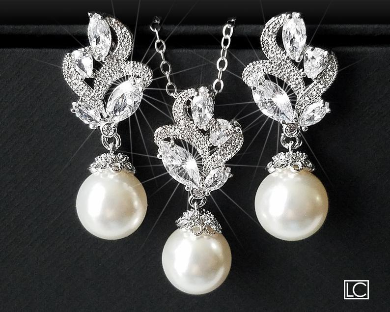 Wedding - Pearl Bridal Jewelry Set, Swarovski WHITE or IVORY Pearl Earring&Necklace Set, Wedding Pearl Jewelry Bridal Jewelry Set Pearl CZ Jewelry Set