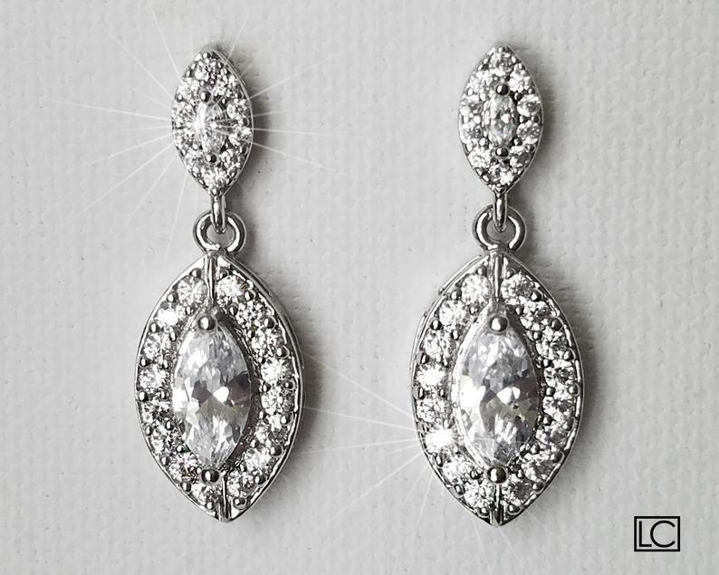 Wedding - Crystal Bridal Earrings, Cubic Zirconia Marquise Earrings, Wedding Earrings, Cubic Zirconia Halo Earrings, Bridal Jewelry, Prom Jewelry