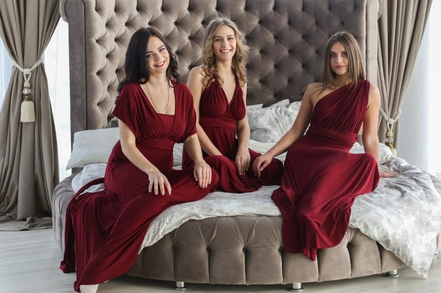 Wedding - Plus size burgundy wine infinity dress, Plus size burgundy wine convertible dress, Plus size burgundy multiway dress, plus size prom