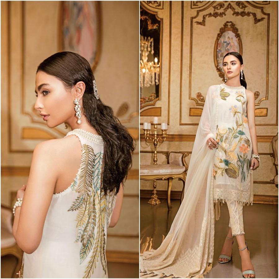 Wedding - Custom Stitched Pakistani Indian Wedding dresses Chiffon Collection White dress Eid Style Suits Latest Clothes Shalwar Kameez Party Wear