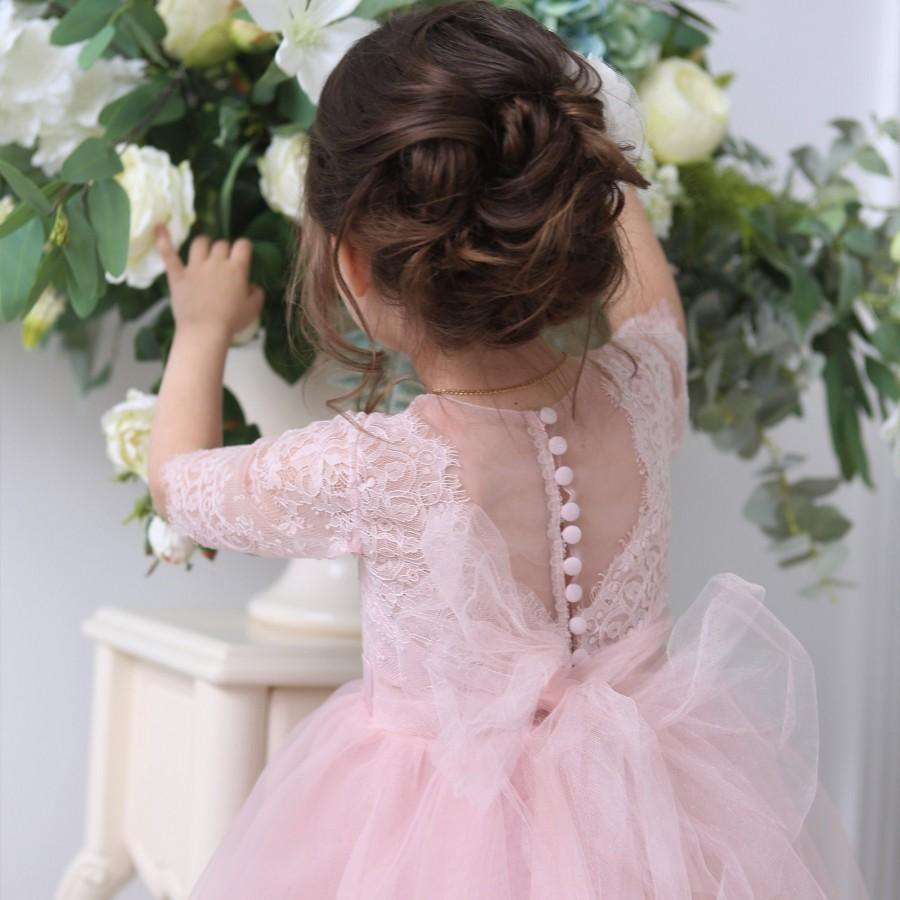 Wedding - blush pink tulle flower girl dress - wedding baby dress - tutu dress toddler - first birthday dress -pageant dress - lace wedding girl dress