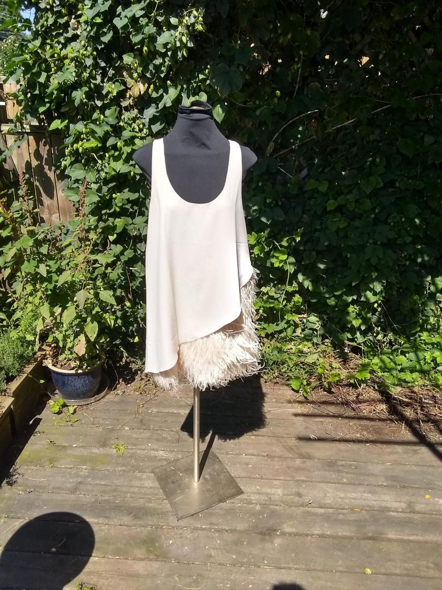 Wedding - Modern flapper ostrich feather dress