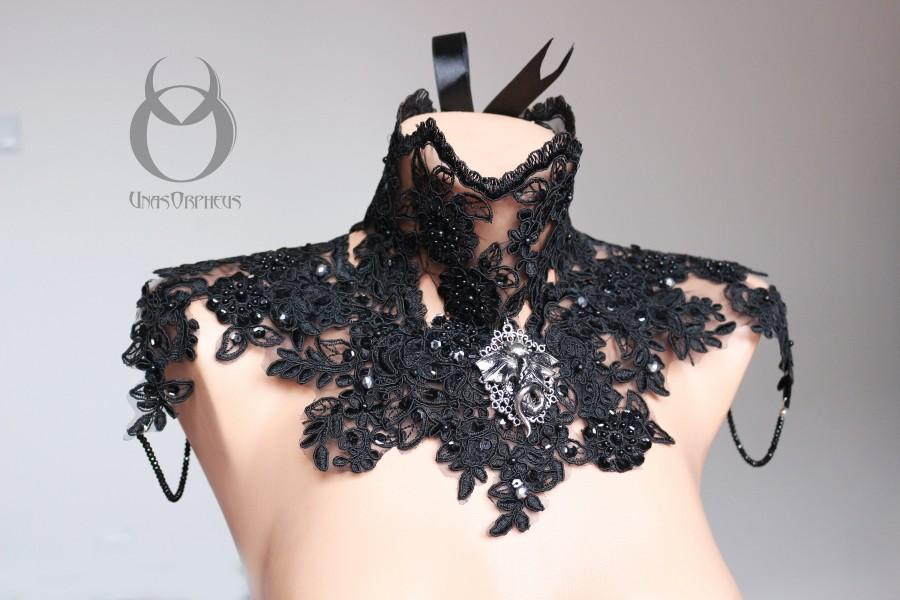 Wedding - Gothic Black Lace Statement Jewelry Chest Piece with Czech Crystal beads and Dragon Pendant